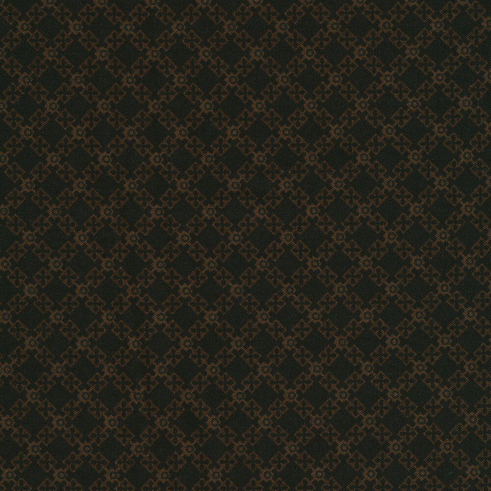Alternating squares with X's and O's on a black background | Shabby Fabrics