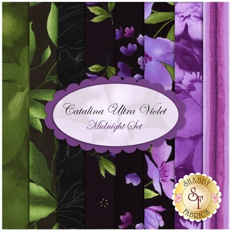 Catalina Ultra Violet  8 FQ Set - Midnight Set by Marti Michell for Maywood Studio Fabrics