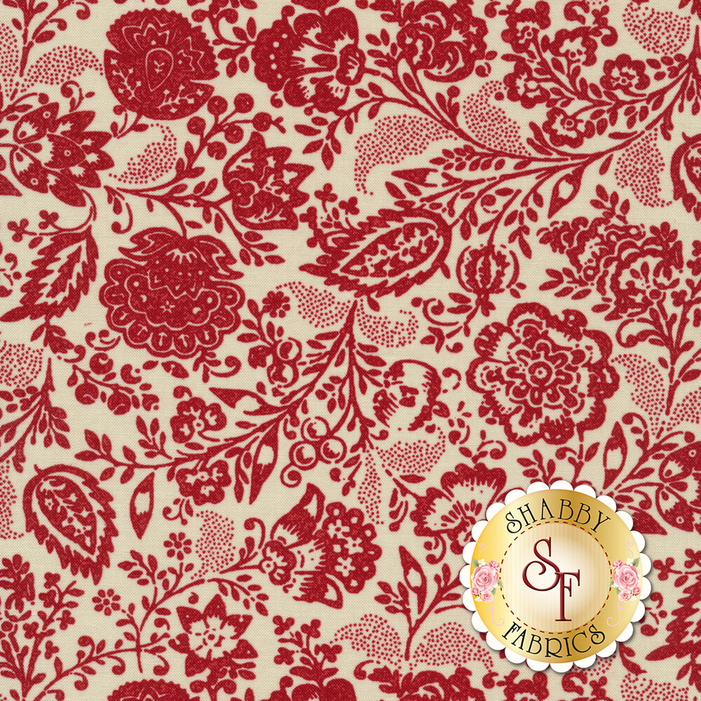 Red floral design all over tan | Shabby Fabrics