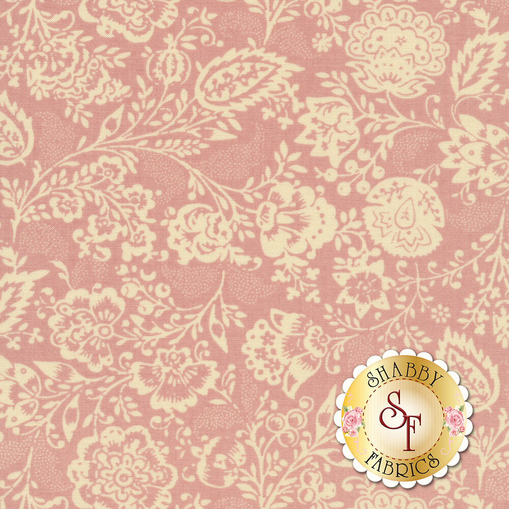Cream floral design all over pink | Shabby Fabrics