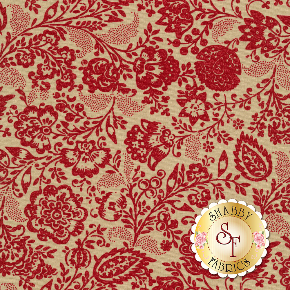 Red floral design all over tan   Shabby Fabrics