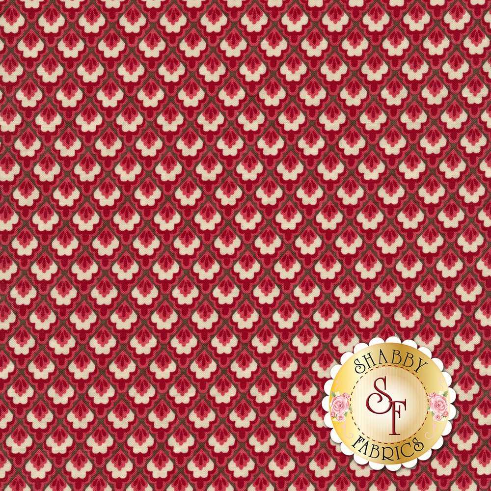 Red and cream tile design on dark red background | Shabby Fabrics