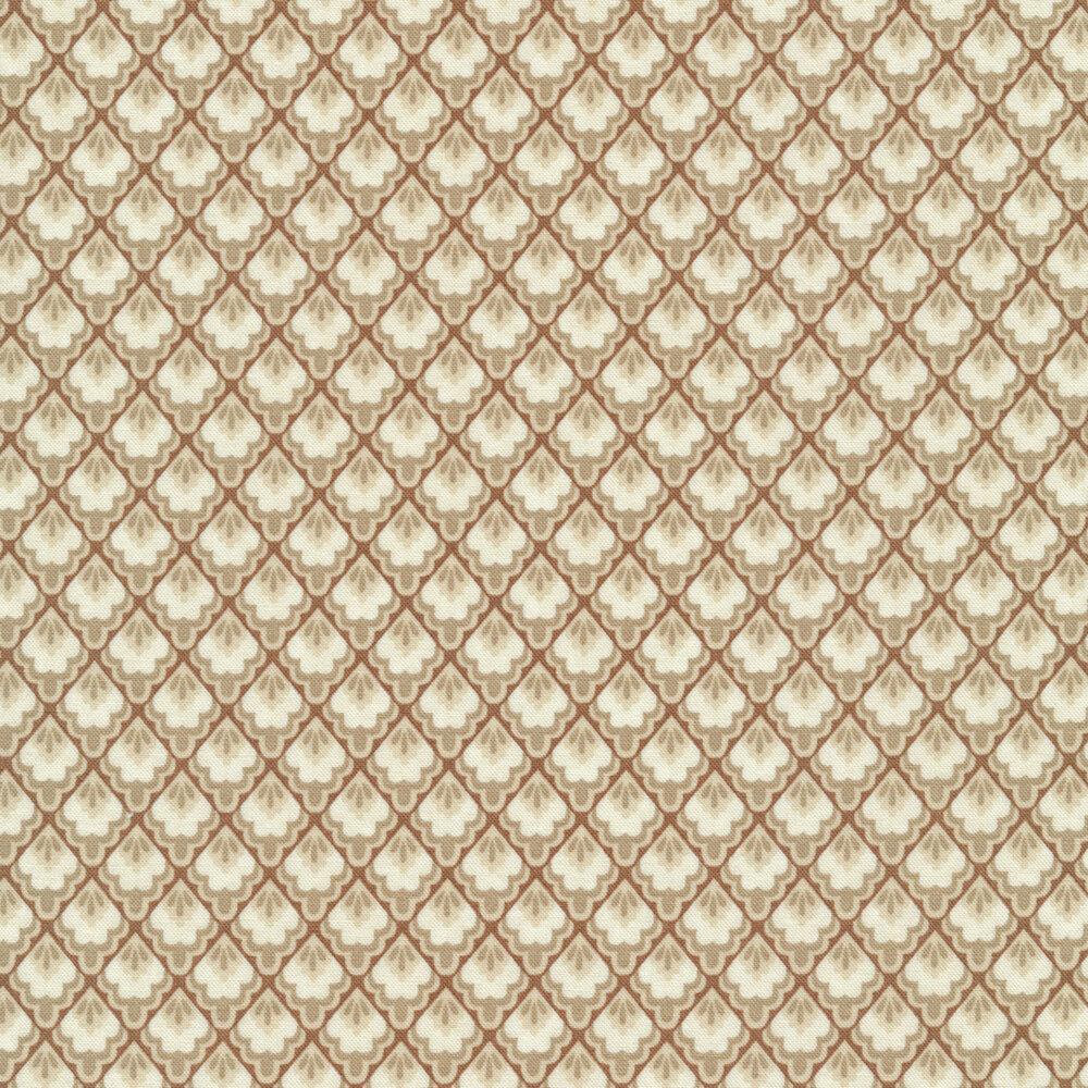 Tonal tan tile design on brown | Shabby Fabrics