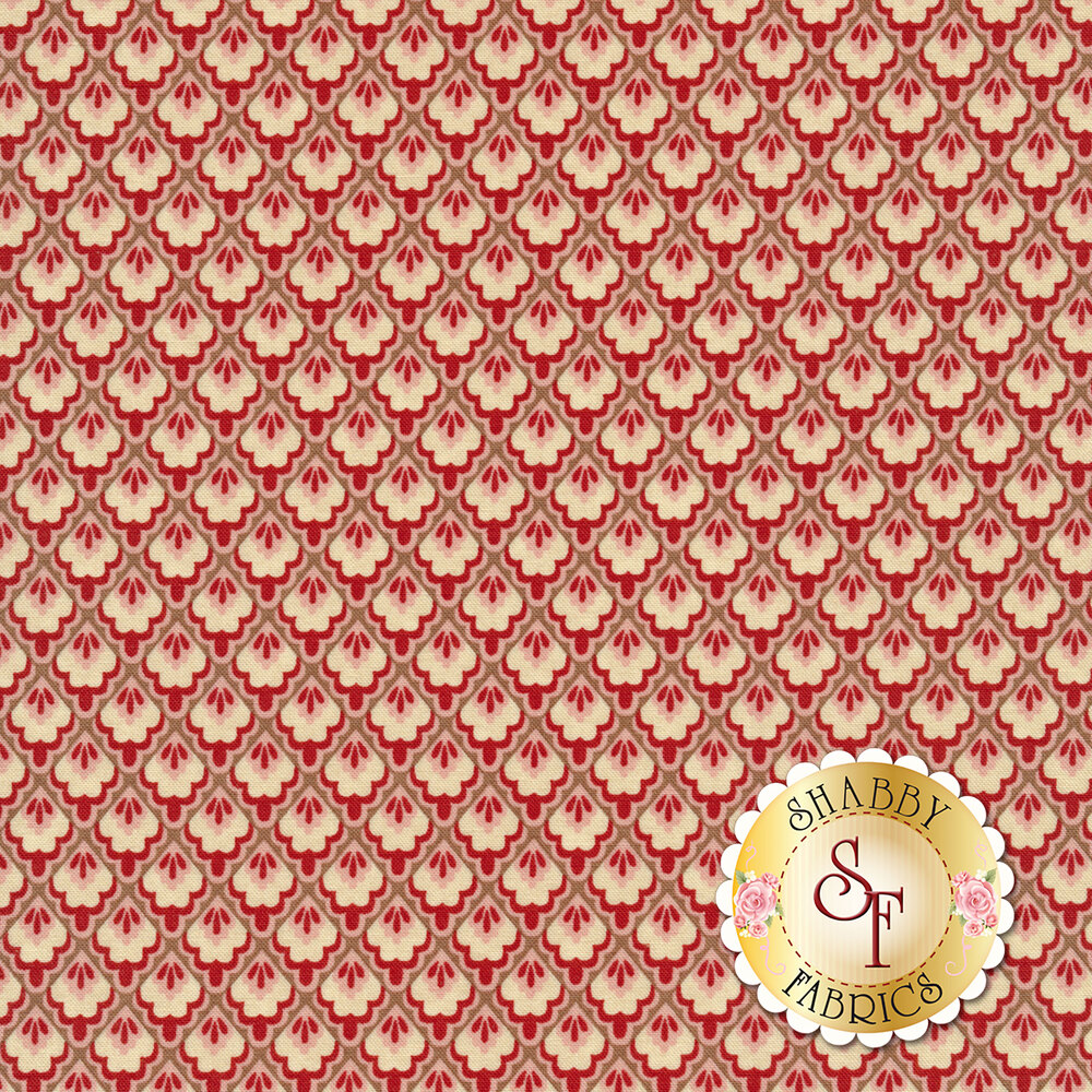Red and cream tile design | Shabby Fabrics