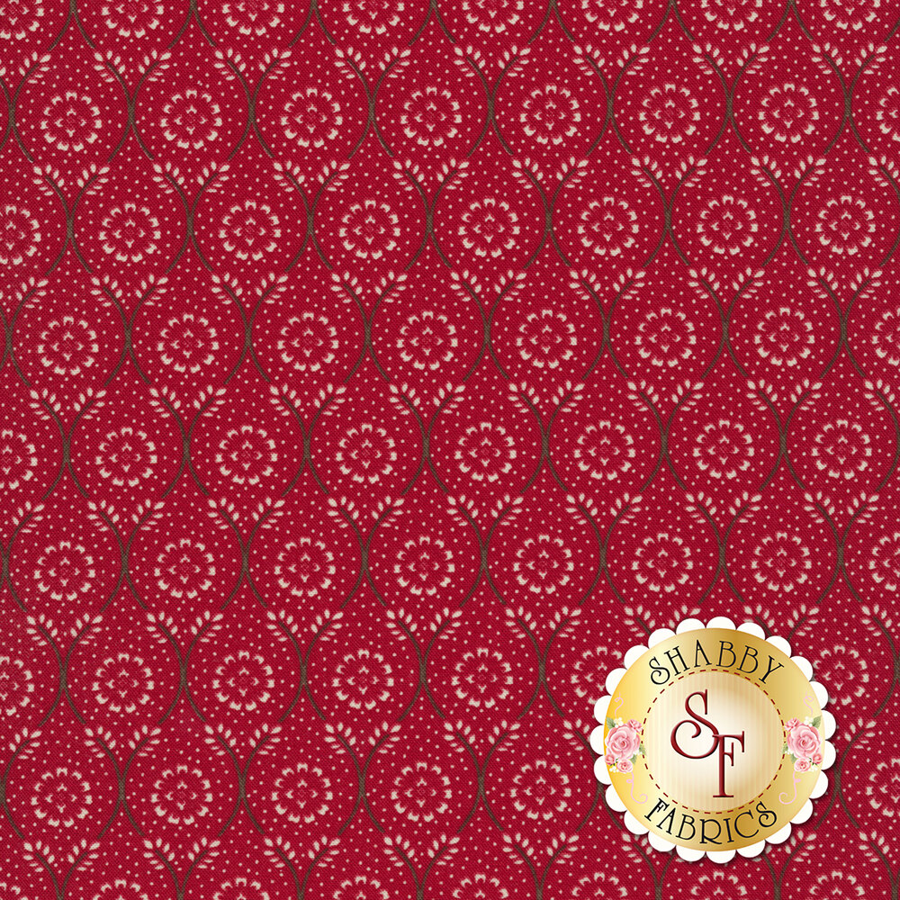 White floral dot in chain design on red | Shabby Fabrics