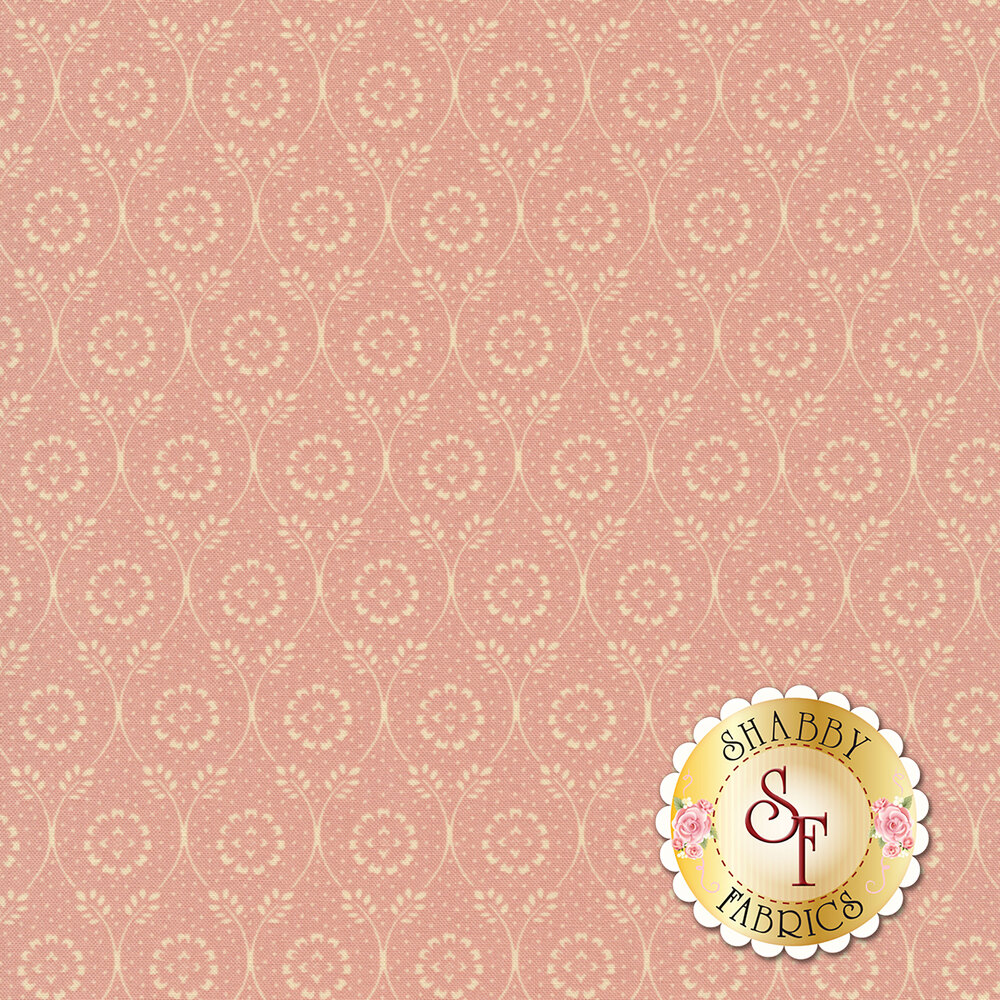 Cream floral dot in chain design on pink | Shabby Fabrics