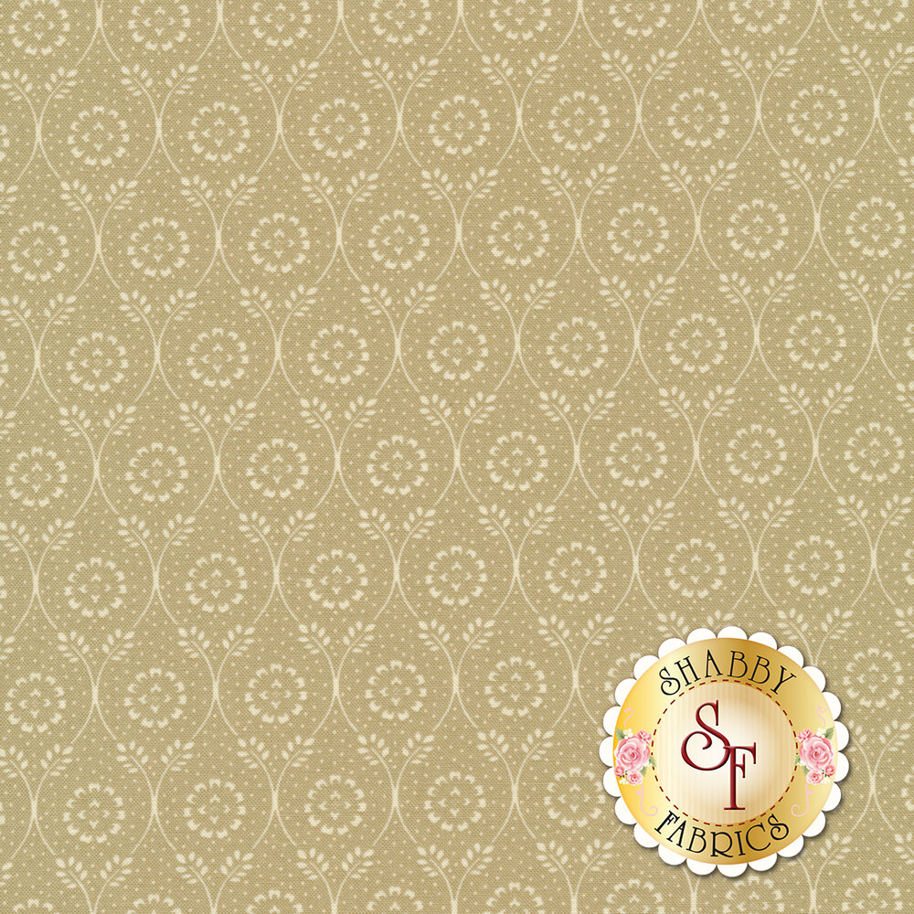 Cream floral dot in chain design on greige | Shabby Fabrics