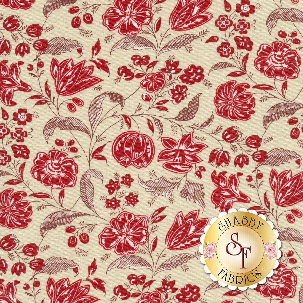 Cream floral design red | Shabby Fabrics