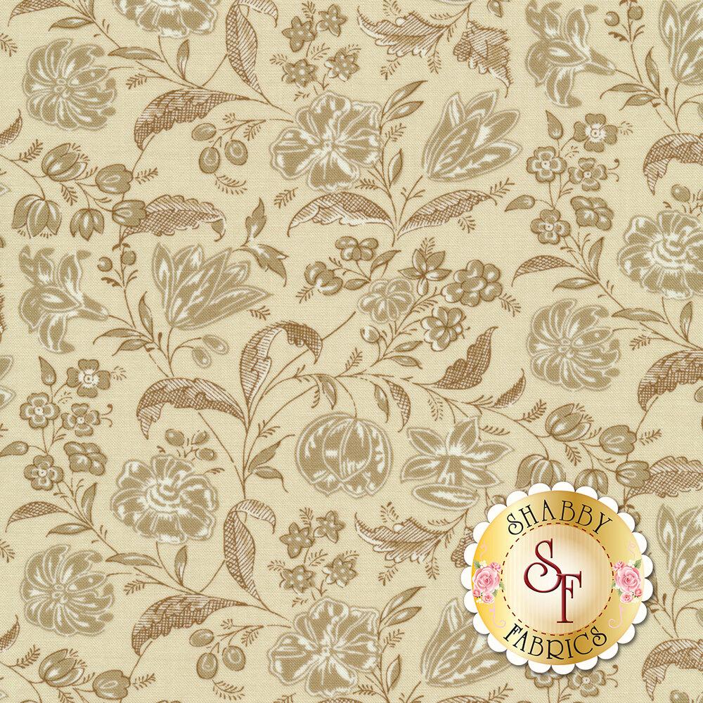 Tonal tan floral design | Shabby Fabrics