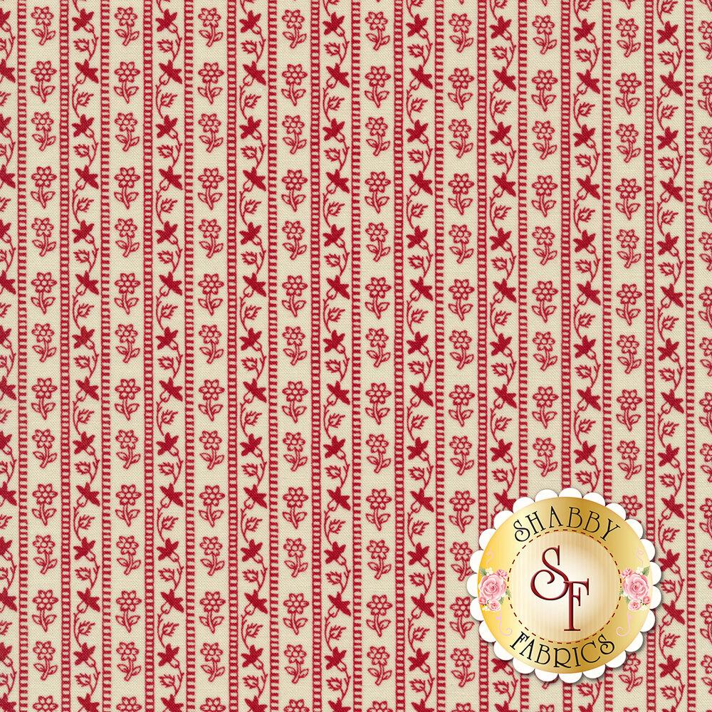 Red floral stripe design on cream | Shabby Fabrics