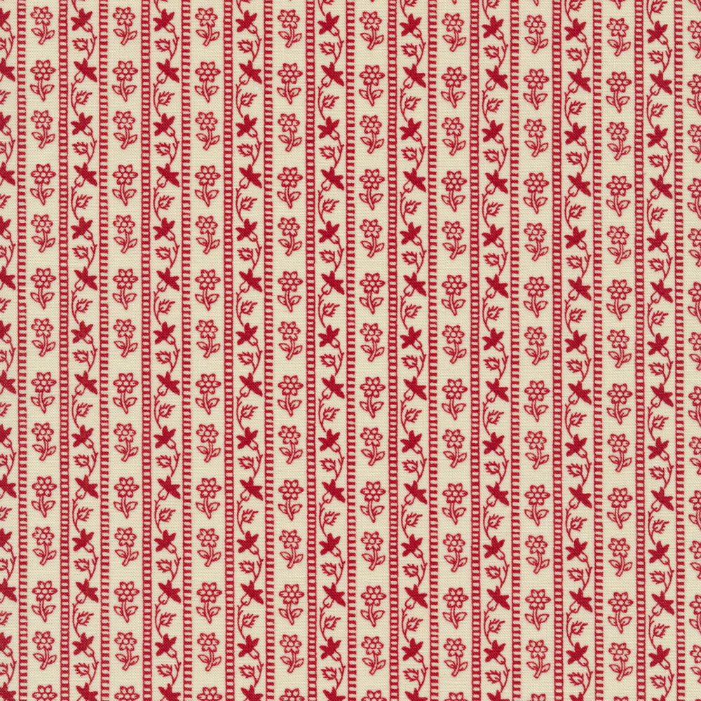 Red floral stripe design on cream | Shabby Fabrics