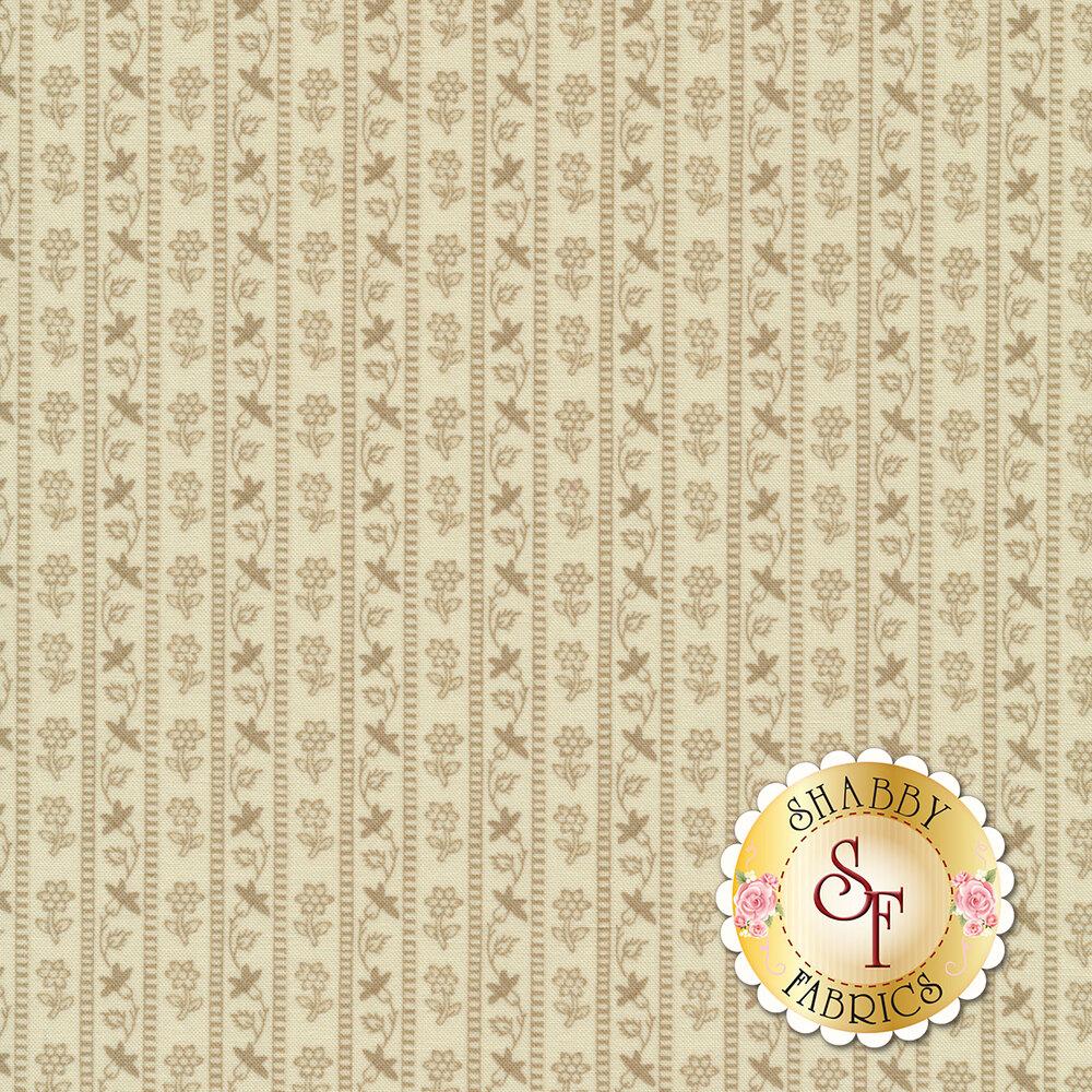 Tonal tan floral stripe design | Shabby Fabrics