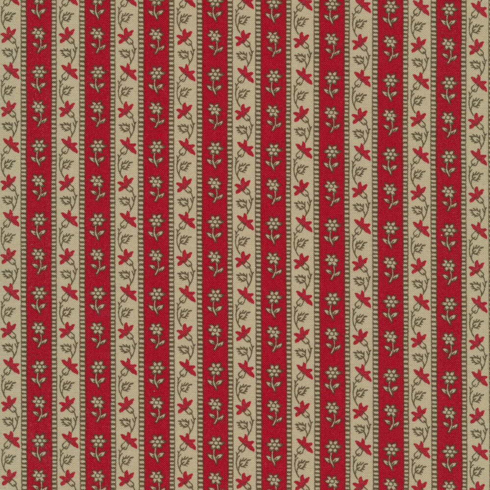 Red and tan floral stripe design | Shabby Fabrics