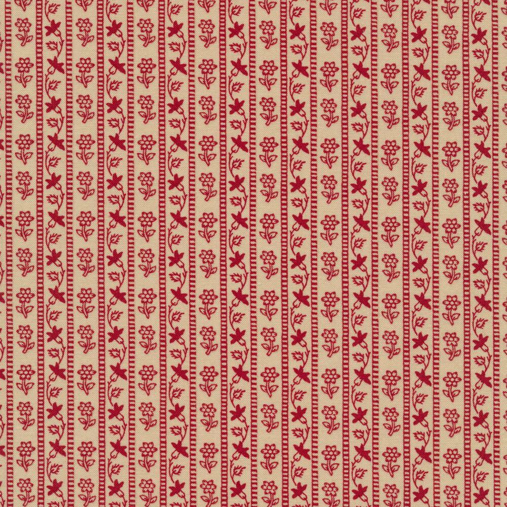 Red floral stripe design on tan | Shabby Fabrics