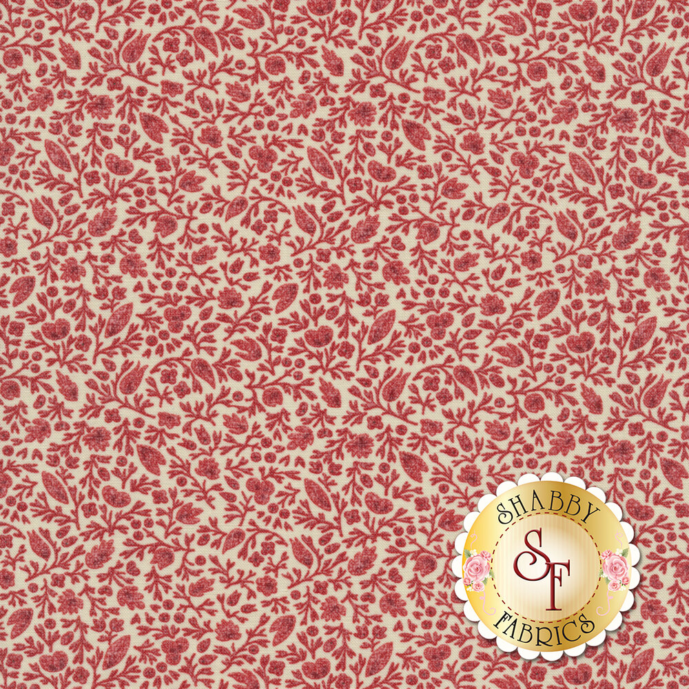 Red flowers and vines all over cream | Shabby Fabrics
