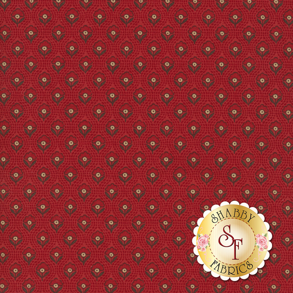 Red flowers all over textured red | Shabby Fabrics