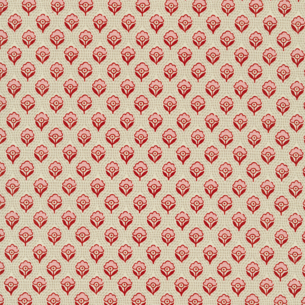Red and pink flowers all over textured cream | Shabby Fabrics