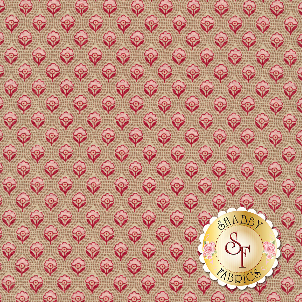 Red and pink flowers all over textured tan | Shabby Fabrics