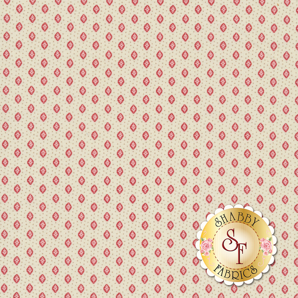 Tiny red flowers and tan dots all over cream   Shabby Fabrics