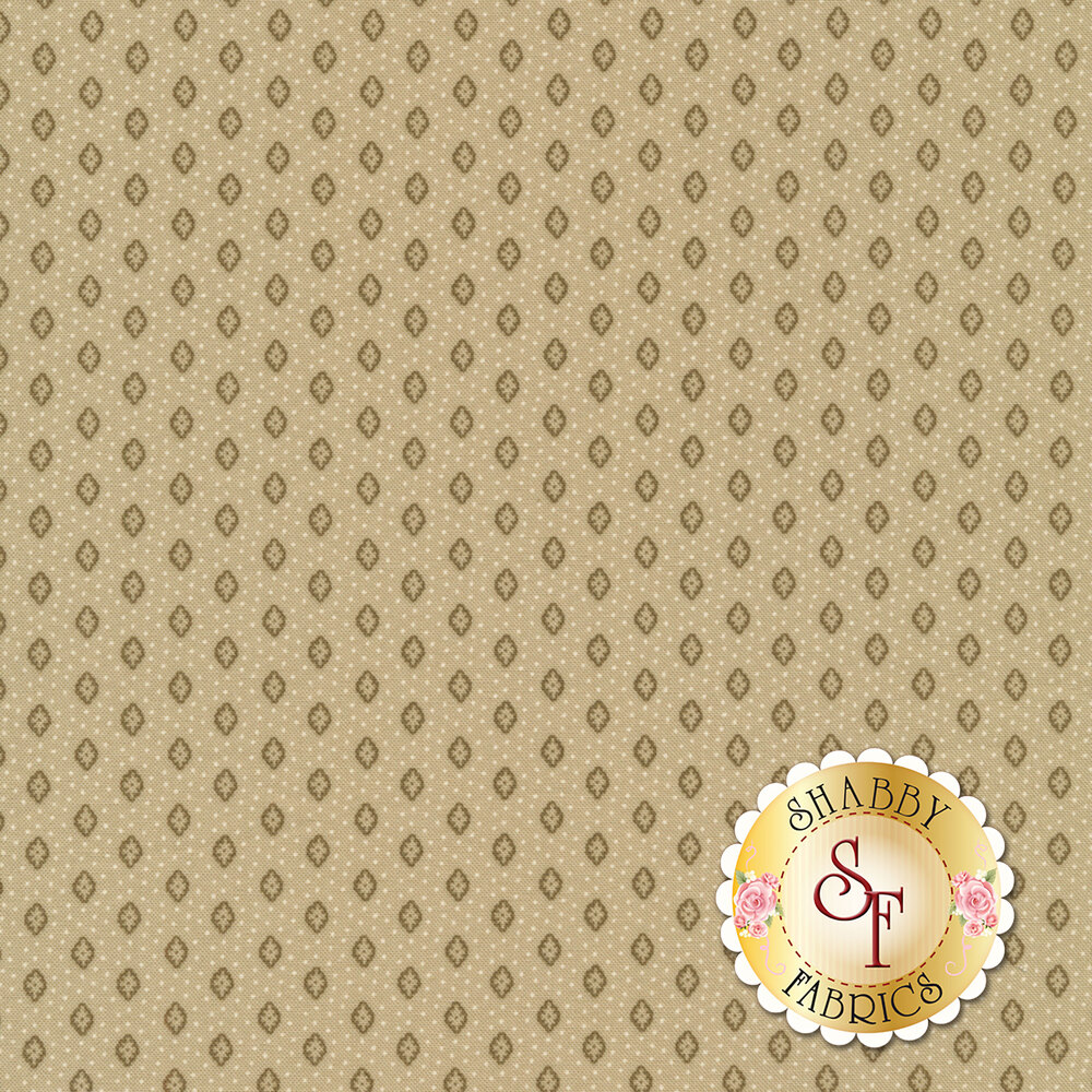 Tiny flowers and tan dots all over greige | Shabby Fabrics