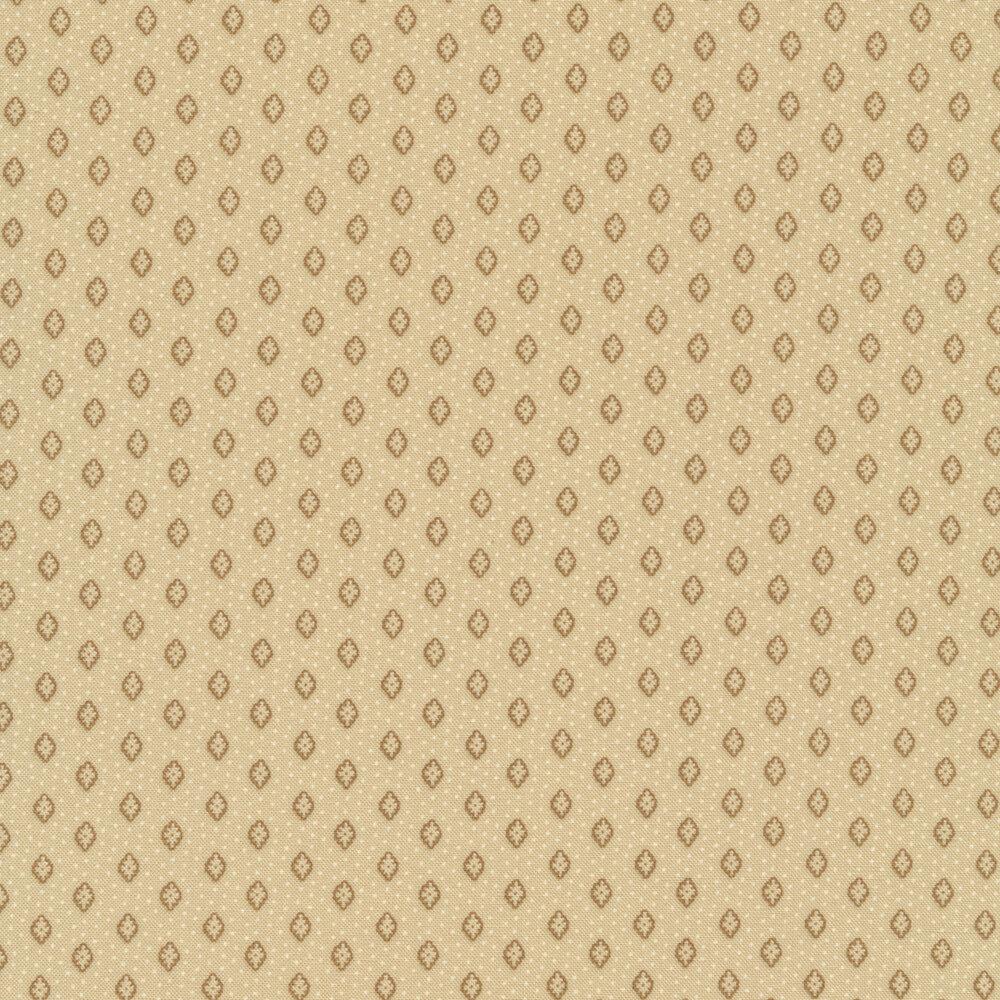Tonal flowers and tiny dots all over tan | Shabby Fabrics