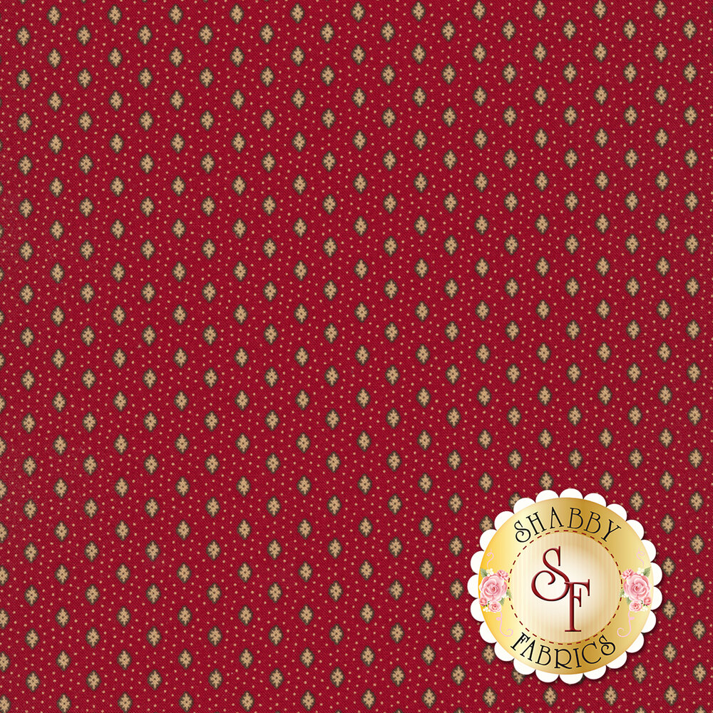 Tiny tan dots and flowers all over red | Shabby Fabrics