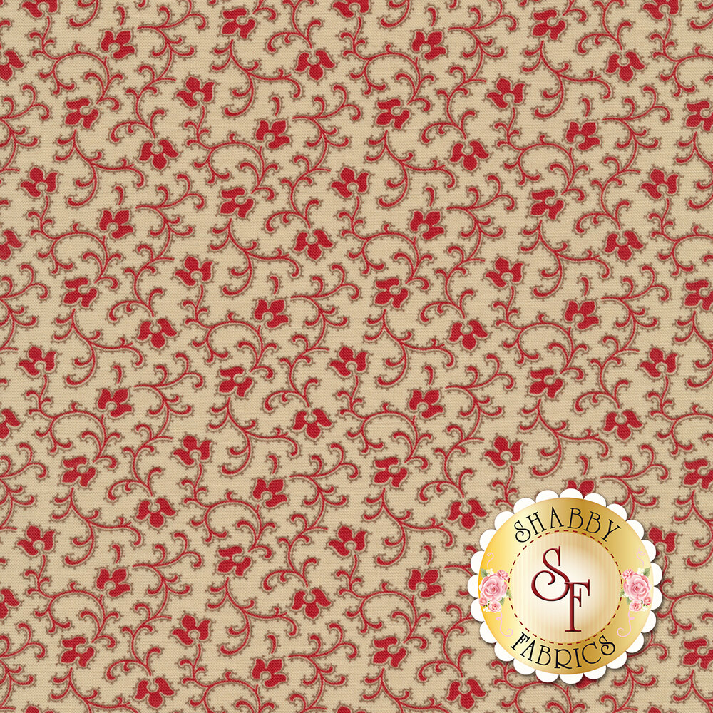 Red flowers and vines all over tan | Shabby Fabrics