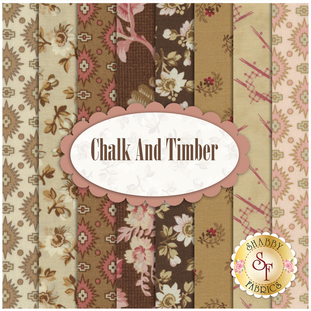Collage of fabrics included in Chalk and Timber set | Shabby Fabrics