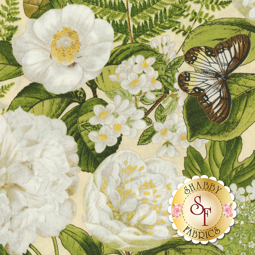 Chantrell 68449-217 Large Floral Tan for Wilmington Prints
