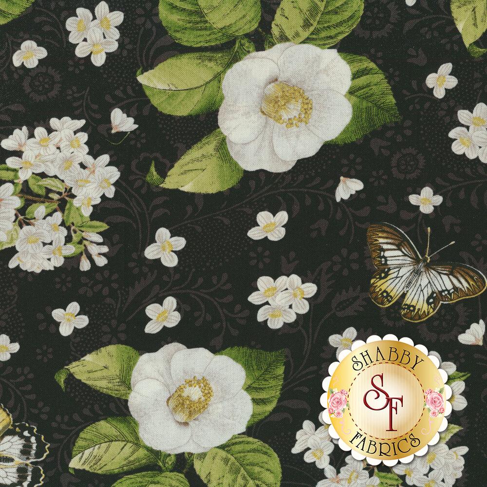Chantrell 68450-917 Magnolias & Butterflies Black for Wilmington Prints