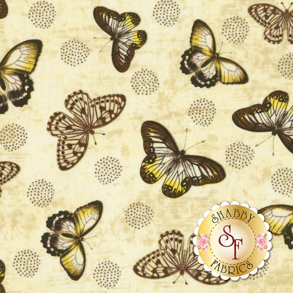 Chantrell 68451-295 Butterflies Tan for Wilmington Prints
