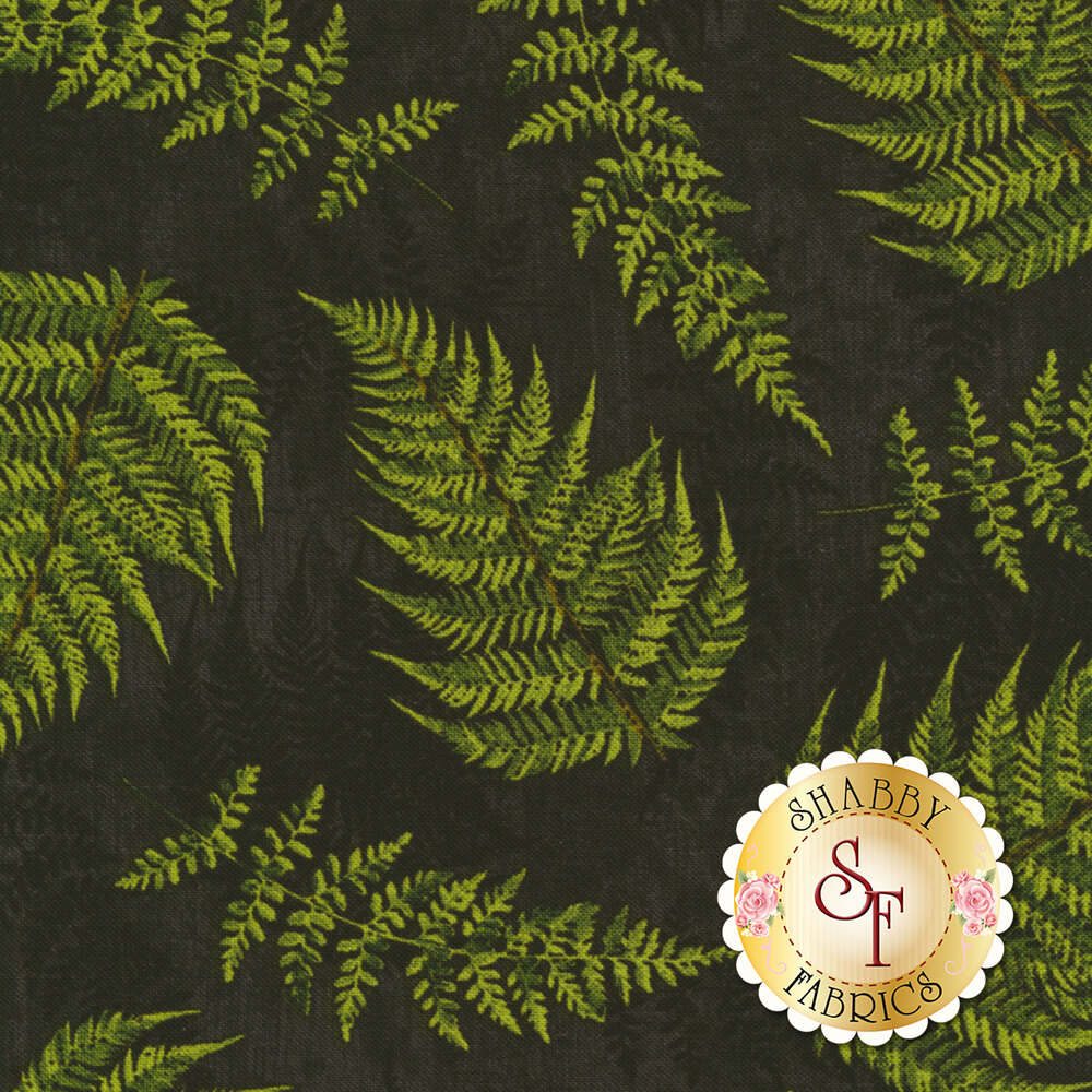 Chantrell 68452-997 Fern Leaves Black for Wilmington Prints