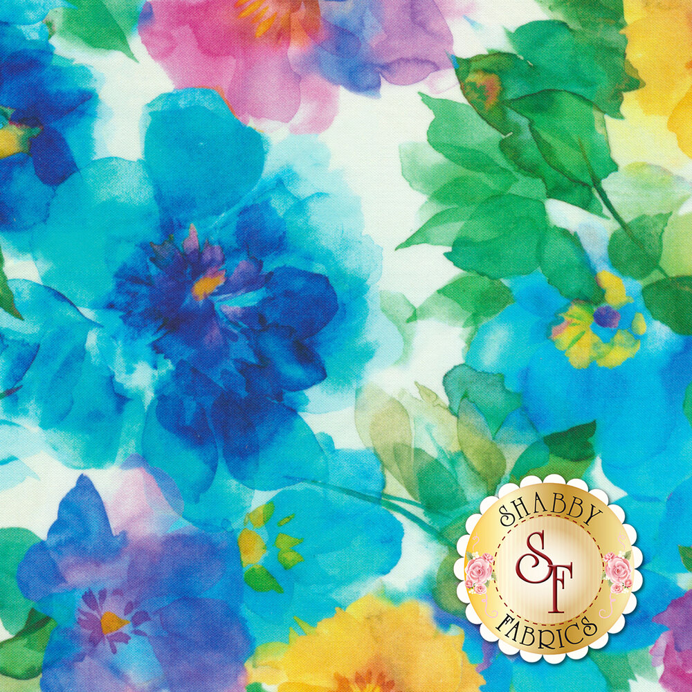 Pink, yellow, and blue watercolor flowers on white | Shabby Fabrics