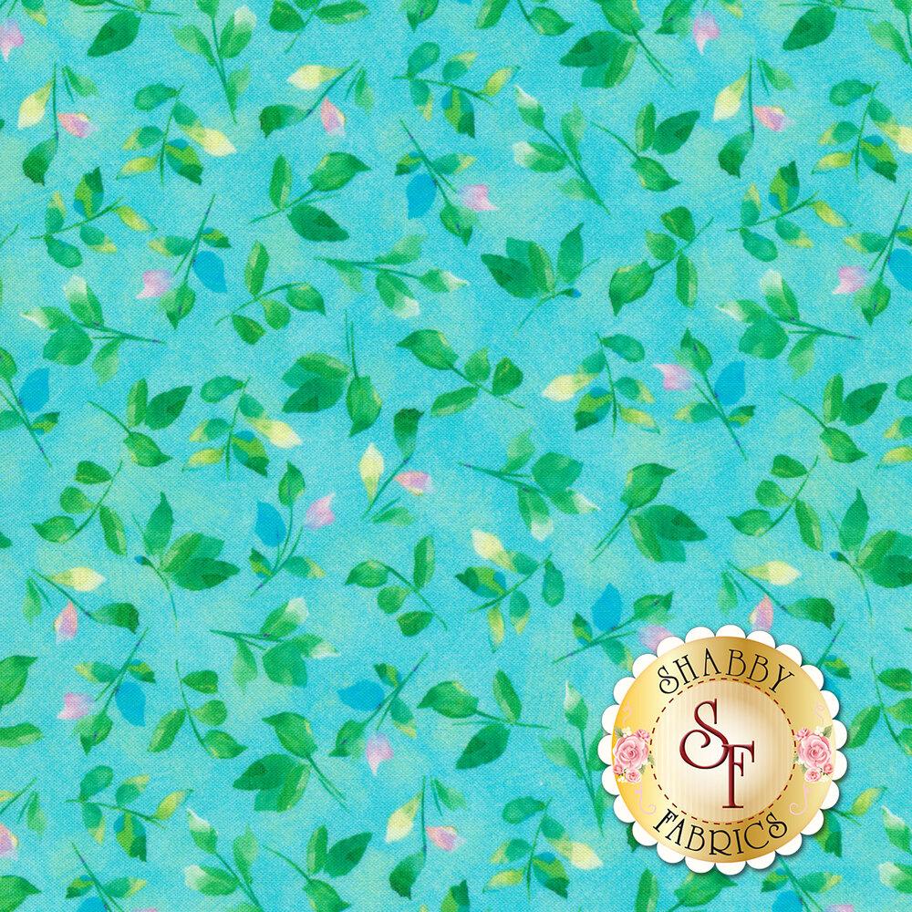 Leaves all over mottled aqua | Shabby Fabrics