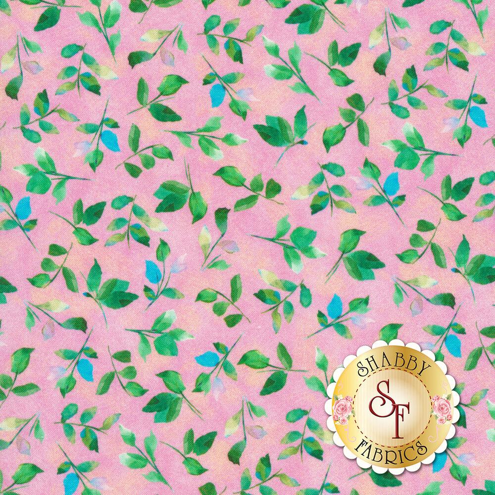 Leaves all over mottled pink | Shabby Fabrics
