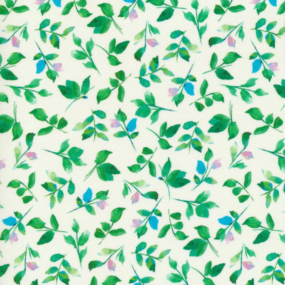 Leaves all over white | Shabby Fabrics