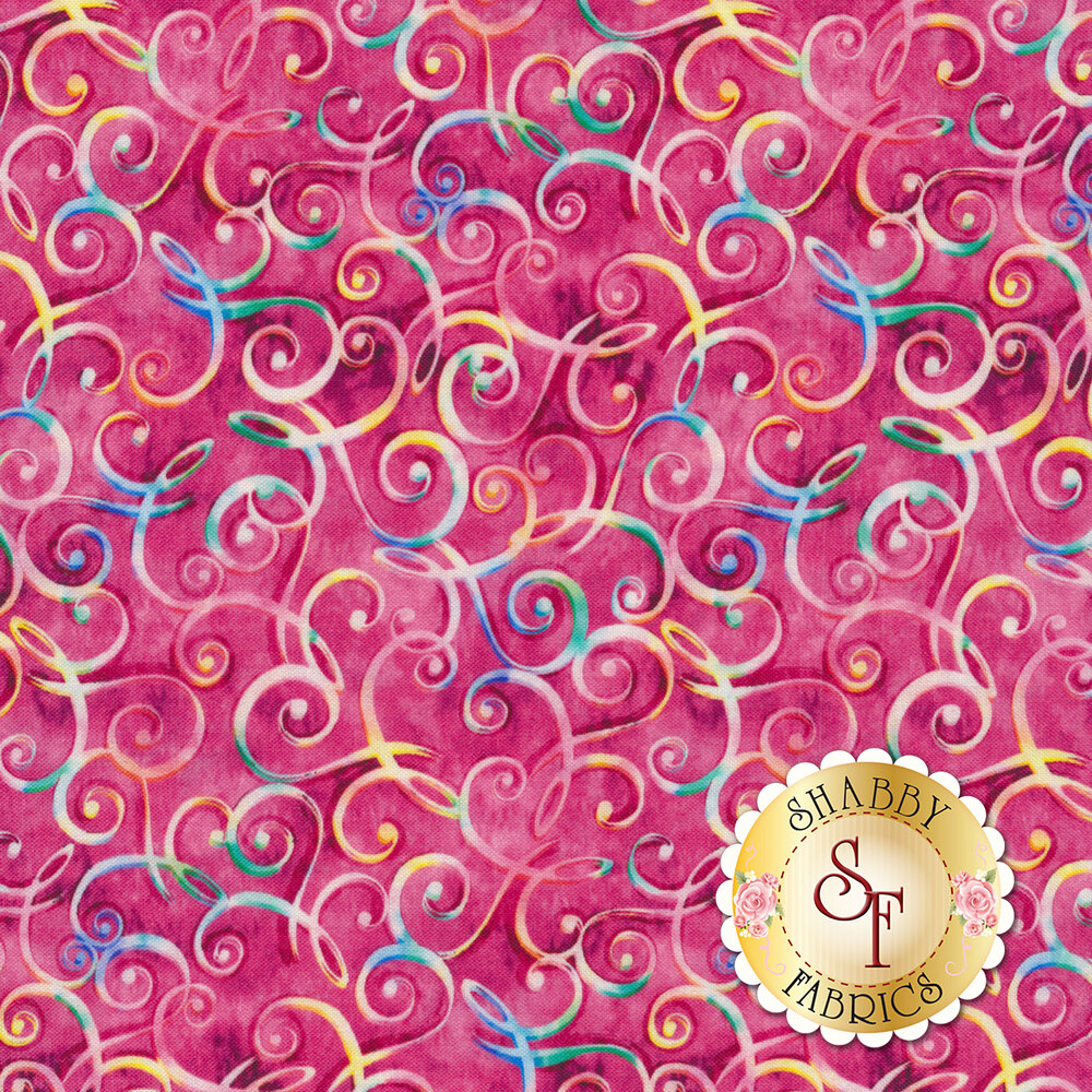 Multicolored scrolls all over mottled pink | Shabby Fabrics