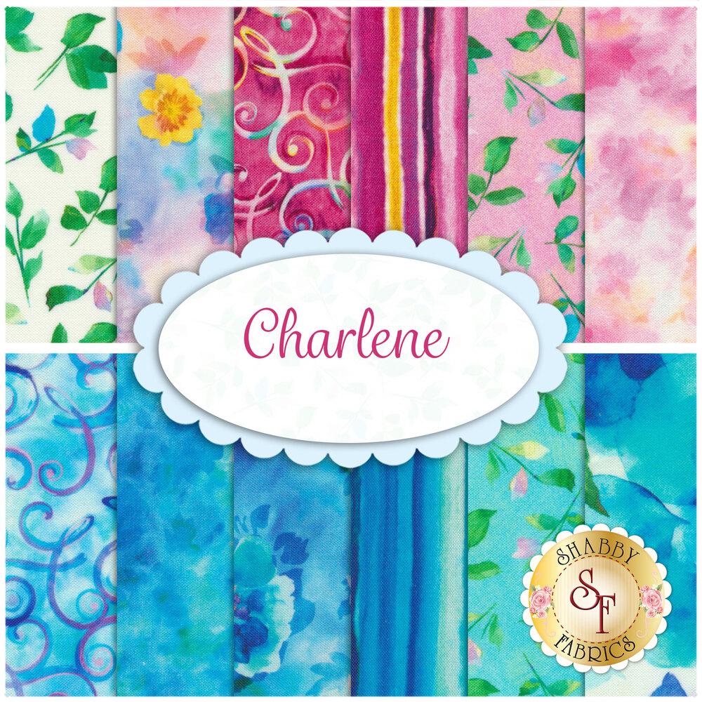 Collage of fabrics included in Charlene set | Shabby Fabrics