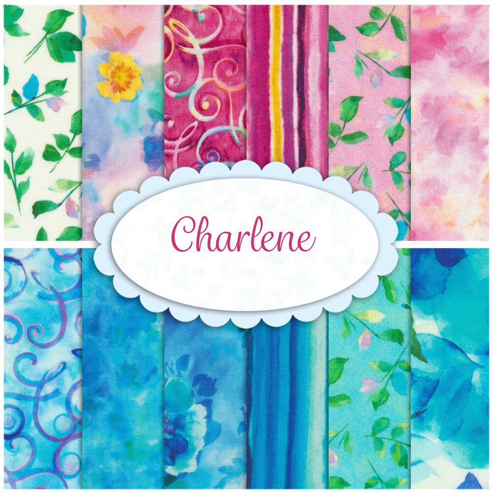 A collage of 12 colorful fabrics in the Charlene FQ set