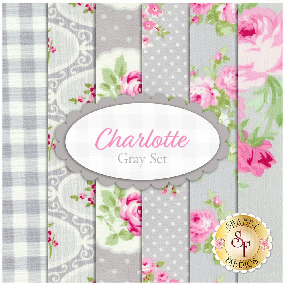 Charlotte  6 FQ Set - Gray Set by Tanya Whelan for Free Spirit Fabrics