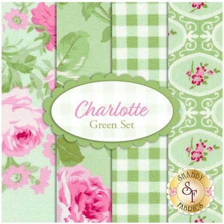 Charlotte  4 FQ Set - Green Set by Tanya Whelan for Free Spirit Fabrics