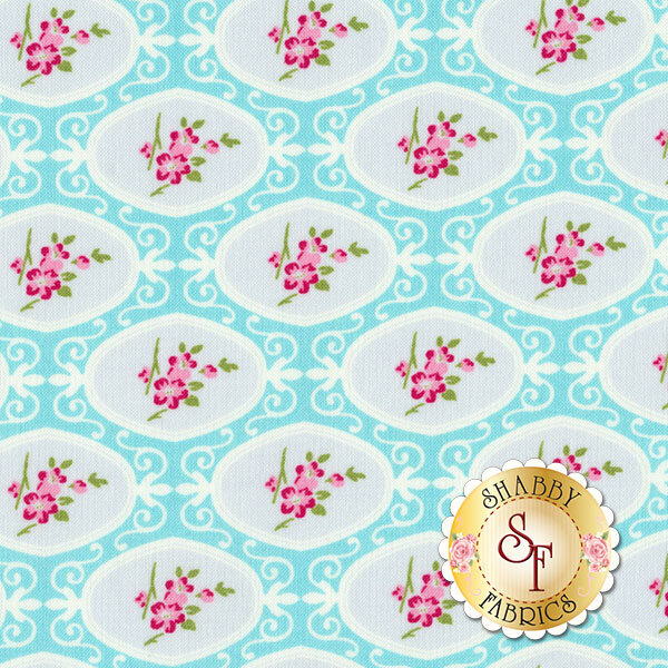 Flowers in white ovals on blue | Shabby Fabrics