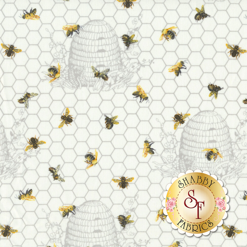 Bees with honeycombs and honeycomb design all white | Shabby Fabrics