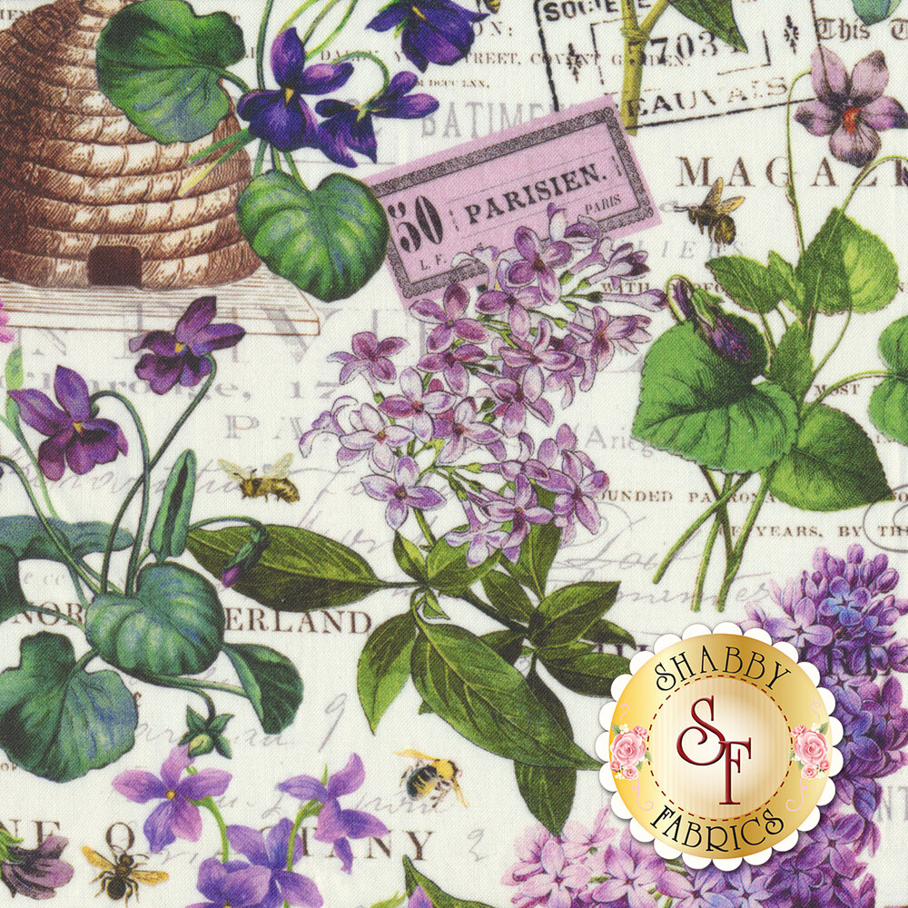 Lilacs and beehives with words all over white | Shabby Fabrics