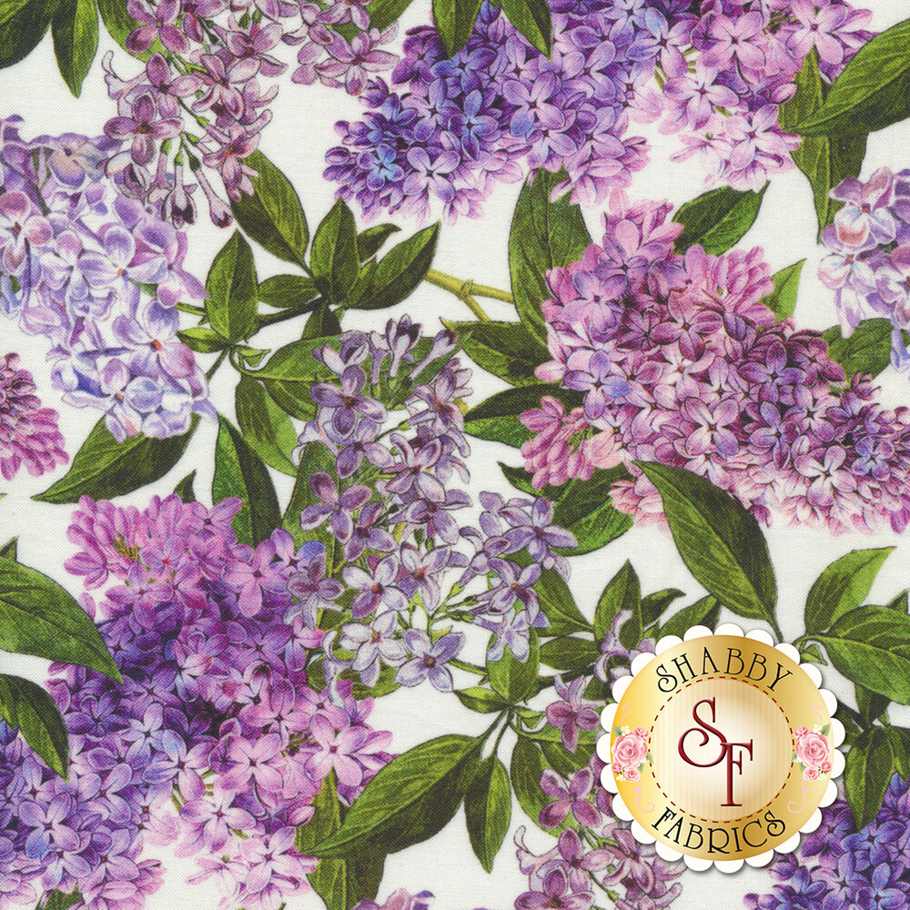 Purple lilacs with green leaves all over white | Shabby Fabrics
