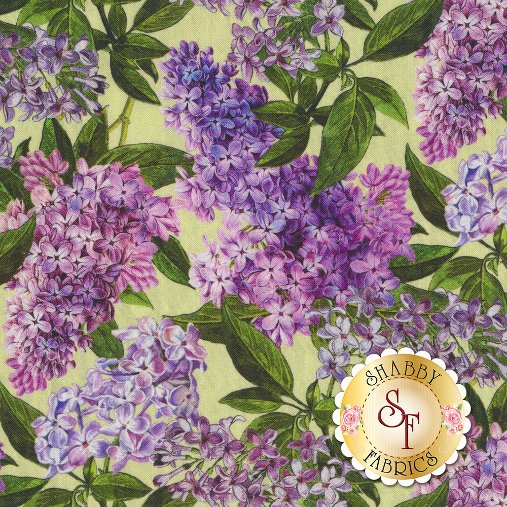 Purple lilacs with green leaves all over light green | Shabby Fabrics