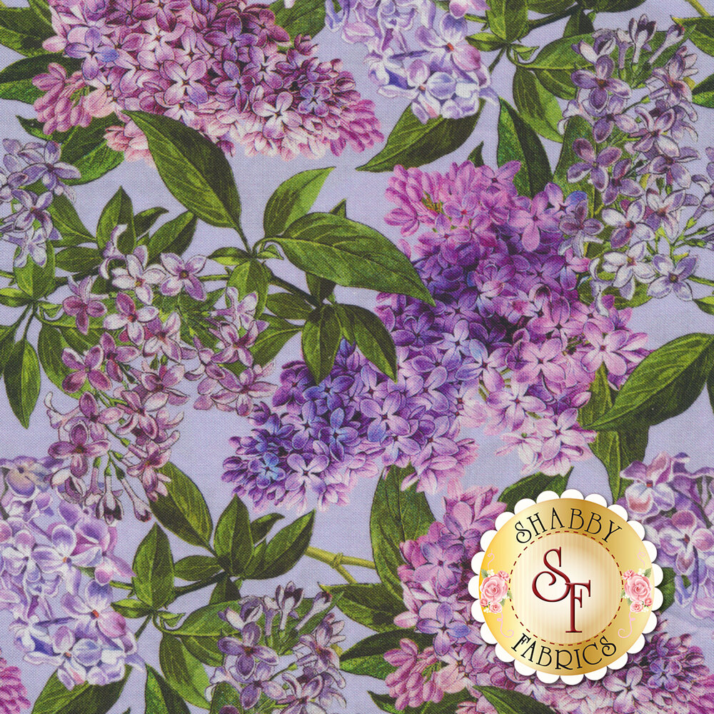 Purple lilacs with green leaves all over purple | Shabby Fabrics