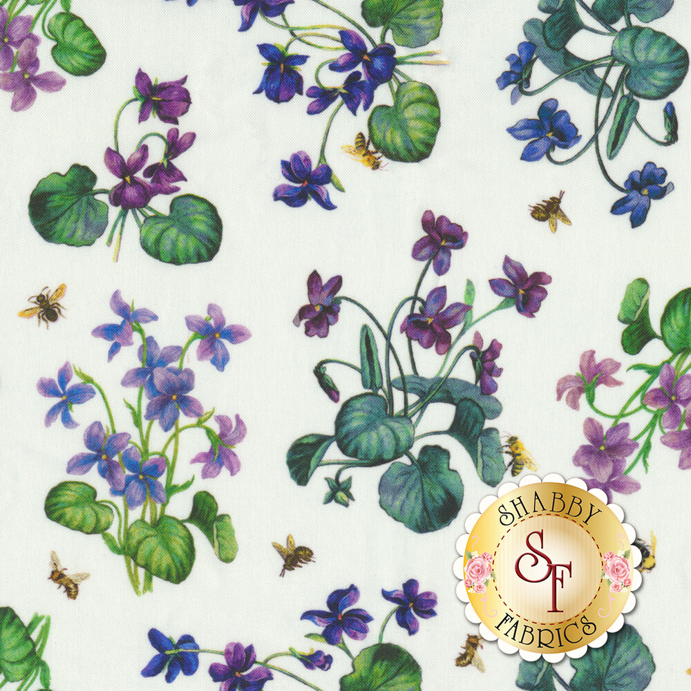 Purple flowers with green leaves all over white | Shabby Fabrics