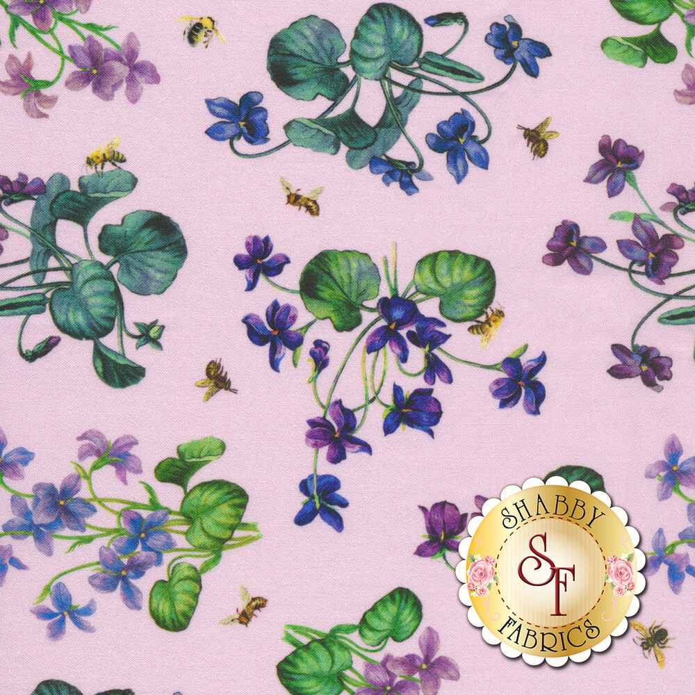 Purple flowers with green leaves all over purple | Shabby Fabrics
