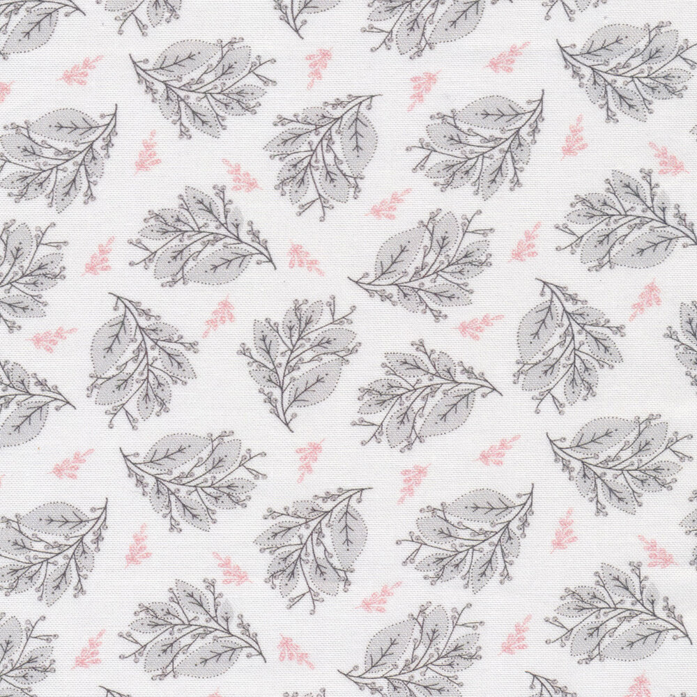 Tossed gray sprigs and pink flowers on a white background | Shabby Fabrics